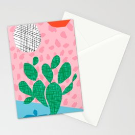 Lampin' - memphis throwback style retro neon cactus desert palm springs california southwest hipster Stationery Cards