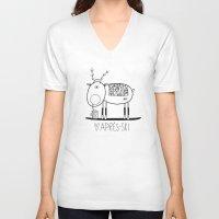 ski V-neck T-shirts featuring Apres ski by Farnell