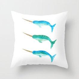 Aqua Narwhals Throw Pillow