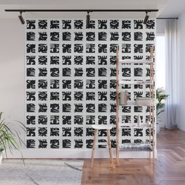 Black and white square monsters Wall Mural