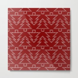 Merry Christmas- Abstract christmas tree pattern on festive red Metal Print