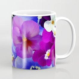 Abstract blue purple pink white pansies floral Coffee Mug