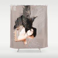 celtic Shower Curtains featuring Morrigan, Celtic goddess by Ganech joe
