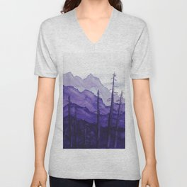 Tonal Mountain Study 2 Purple Unisex V-Neck