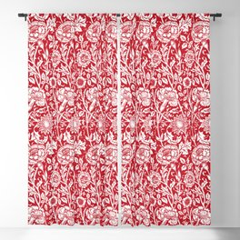 "William Morris Floral Pattern | ""Pink and Rose"" in Red and White Blackout Curtain"