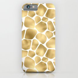 Glam Gold and White Giraffe Print Pattern iPhone Case