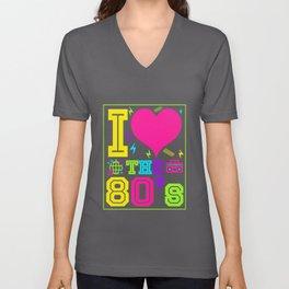 I Love 80s - Vintage Retro Glow Party T-Shirt Unisex V-Neck