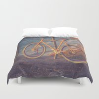 conan Duvet Covers featuring The Bike by Sharon RG Photography