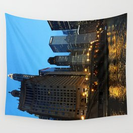 Chicago River and Buildings at Dusk Color Photo Wall Tapestry