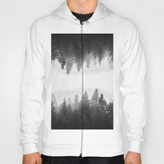 Black and white foggy mirrored forest Hoody