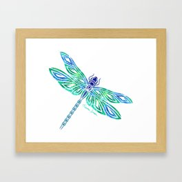Tribal Dragonfly Blues and Greens Framed Art Print