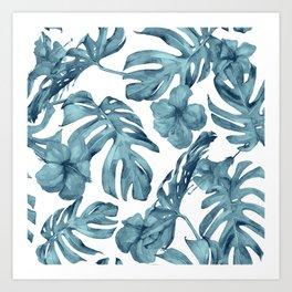Teal Blue Tropical Palm Leaves Flowers Art Print