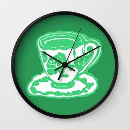 Green Rose Teacup Printmaking Art Wall Clock