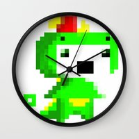 fez Wall Clocks featuring Rawr played Fez by Leilei Pan