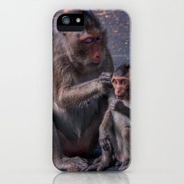 Mother and Baby Macaque Monkey iPhone Case