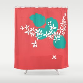 Minimalistic White Flowers On A Red Shower Curtain