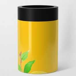 Lemons on Mustard Yellow Can Cooler