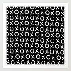 Love XO White and Black Art Print