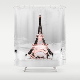 Exceptional PariS Black U0026 White + Pink Shower Curtain