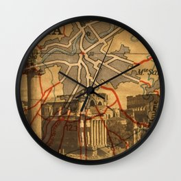 Vintage Made Modern: Italian Map collaged with Historic Sites Wall Clock