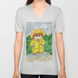 Hammy in a Raincoat Unisex V-Neck