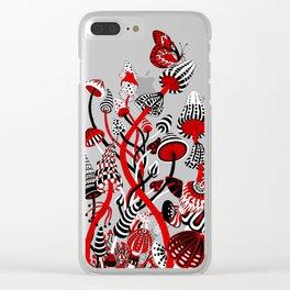 Magic Mushroom Red black blue Clear iPhone Case