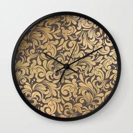 Gold foil swirls damask #11 Wall Clock
