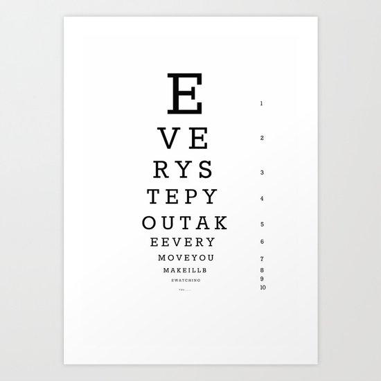 Eye Chart for Stalkers Art Print