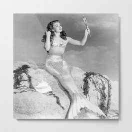 Vintage Mermaid : Mr Peabody & The Mermaid Metal Print