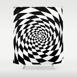 Optical Illusion Op Art Black and White Retro Style Shower Curtain