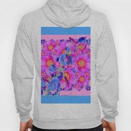 Blue  Patterns Morning Glories & Pink Roses Hoody