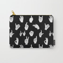 Linocut hand symbols sign language hands printmaking black and white pattern Carry-All Pouch