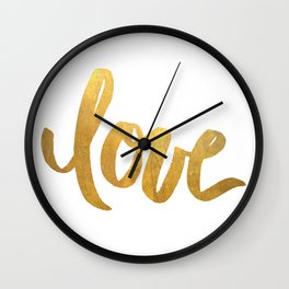 Love is Gold Wall Clock