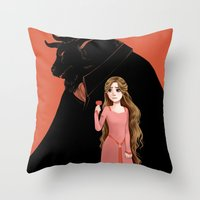 beauty and the beast Throw Pillows featuring Beauty and the Beast by Courtney Godbey