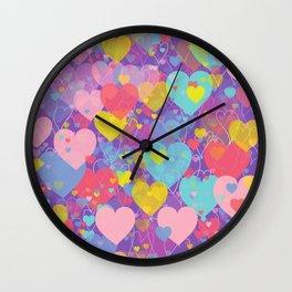 Colorful Hearts Romantic Love Pattern Design Wall Clock
