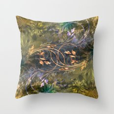Earth Tone Floral Leaf Swirl Abstract Throw Pillow