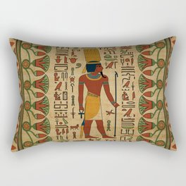 Egyptian Amun Ra - Amun Re Ornament on papyrus Rectangular Pillow