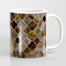Quatrefoil Moroccan Pattern Brown Agate Coffee Mug
