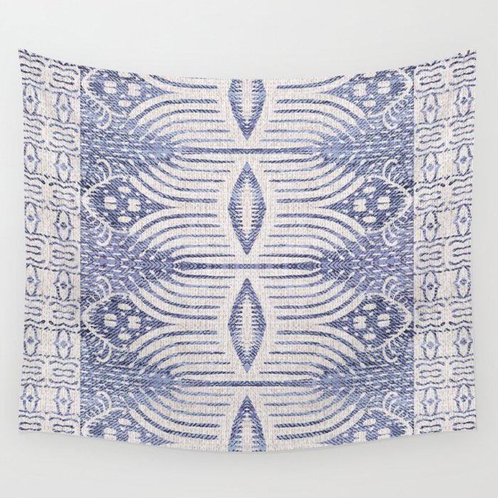 FRENCH LINEN TRIBAL IKAT Wall Tapestry