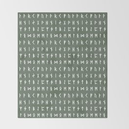 Nordic Runes // Finlandia Green Throw Blanket