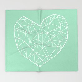 Abstract Heart Mint Throw Blanket