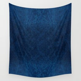 Dark blue glossy leather texture abstract Wall Tapestry