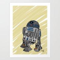 r2d2 Art Prints featuring R2D2 by Rebecca Bear