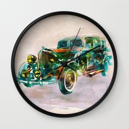 Vintage Car in watercolor Wall Clock