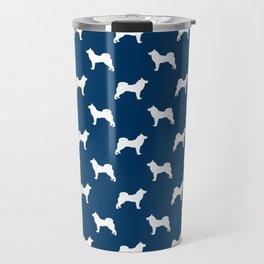 Akita silhouette dog breed pattern minimal dog art navy and white akitas Travel Mug