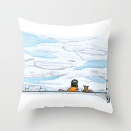 The little girl in orange. Watching the clouds pass over the sky Throw Pillow