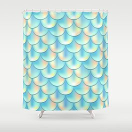 Teal Green Mermaid Pattern, Holographic Fish Scale Print Shower Curtain