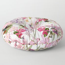 Vintage & Shabby Chic Pink Cockatoo Tropical Flower Jungle Floor Pillow