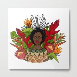 UrbanNesian Floral Fijian Queen Metal Print