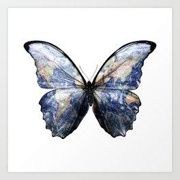 Blue Morpho Earth Butterfly Art Print